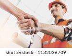 engineer in yellow helmet and...   Shutterstock . vector #1132036709