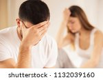 unhappy young couple has... | Shutterstock . vector #1132039160
