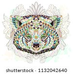 patterned red panda on the... | Shutterstock .eps vector #1132042640