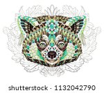 patterned red panda on the... | Shutterstock .eps vector #1132042790