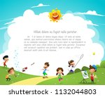 children having fun in the park.... | Shutterstock .eps vector #1132044803