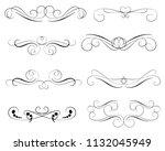 set of decorative florish... | Shutterstock .eps vector #1132045949