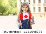 portrait happy schoolgirl with... | Shutterstock . vector #1132048376