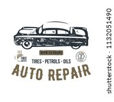 vintage hand drawn auto repair...   Shutterstock . vector #1132051490