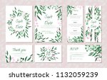 wedding card templates set with ... | Shutterstock .eps vector #1132059239