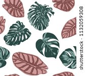 tropical jungle leaves. vector... | Shutterstock .eps vector #1132059308
