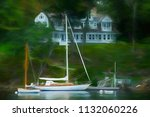 yacht with tall mast and a... | Shutterstock . vector #1132060226