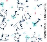 hand drawing giraffe pattern... | Shutterstock .eps vector #1132060313
