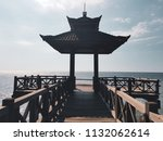 closeup of fishing pier with... | Shutterstock . vector #1132062614