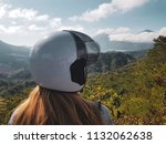 back view of woman tourist in... | Shutterstock . vector #1132062638