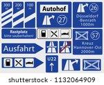 german freeway signs ... | Shutterstock .eps vector #1132064909