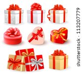 set of colorful vector gift... | Shutterstock .eps vector #113207779