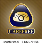 gold shiny emblem with phone... | Shutterstock .eps vector #1132079756