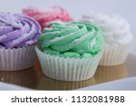 tasty and fresh four cupcakes...   Shutterstock . vector #1132081988