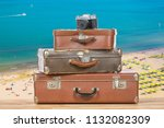 old vintage suitcases with... | Shutterstock . vector #1132082309