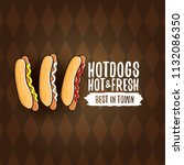 vector cartoon hot dogs label... | Shutterstock .eps vector #1132086350