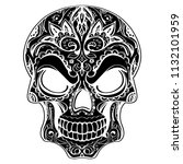 day of the dead  skull with... | Shutterstock .eps vector #1132101959
