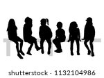group of sitting children. | Shutterstock .eps vector #1132104986