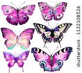 beautiful butterfly watercolor  ... | Shutterstock . vector #1132108526