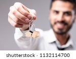 real estate concept of cheerful ... | Shutterstock . vector #1132114700