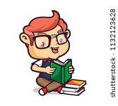 nerd geek read a book   Shutterstock .eps vector #1132123628