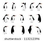 cute cartoon penguins over... | Shutterstock .eps vector #113212396