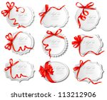 set of beautiful cards with red ... | Shutterstock .eps vector #113212906