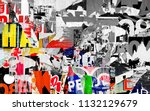 collage torn ripped posters... | Shutterstock . vector #1132129679
