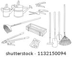 the gardening tools and... | Shutterstock .eps vector #1132150094
