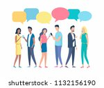 people chatting using mobile... | Shutterstock .eps vector #1132156190