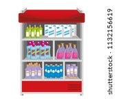 supermarket shelving with... | Shutterstock .eps vector #1132156619