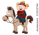 little cowboy riding horse... | Shutterstock .eps vector #113215744