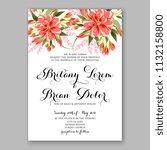 floral red dahlia wedding... | Shutterstock .eps vector #1132158800
