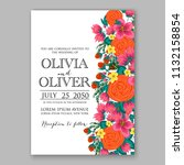 floral wedding invitation or... | Shutterstock .eps vector #1132158854
