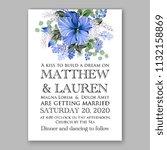 floral wedding invitation or... | Shutterstock .eps vector #1132158869