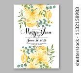 floral sunflower wedding... | Shutterstock .eps vector #1132158983