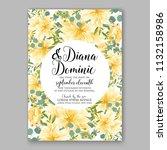 floral sunflower wedding... | Shutterstock .eps vector #1132158986