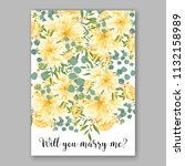 floral sunflower wedding... | Shutterstock .eps vector #1132158989