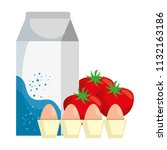 milk box with tomatoes and eggs | Shutterstock .eps vector #1132163186