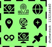 simple 9 icon set of map... | Shutterstock .eps vector #1132166660