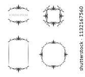 vintage floral frames borders... | Shutterstock .eps vector #1132167560