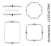 vintage floral frames borders... | Shutterstock .eps vector #1132167584