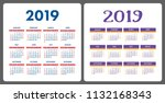 calendar 2019. colorful english ... | Shutterstock .eps vector #1132168343
