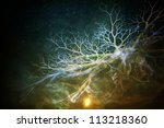 Abstract with a science fiction look created with photo overlays and textures. - stock photo