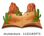 a pop up book desert scene... | Shutterstock .eps vector #1132183973
