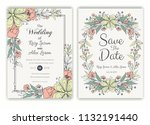 floral hand drawn frame for a... | Shutterstock .eps vector #1132191440