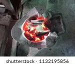brazier for cooking such as... | Shutterstock . vector #1132195856