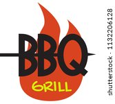 logo bbq grill on white... | Shutterstock .eps vector #1132206128