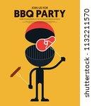 bbq invitation modern retro... | Shutterstock .eps vector #1132211570