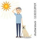 elderly man walking dogs in the ...   Shutterstock .eps vector #1132213919
